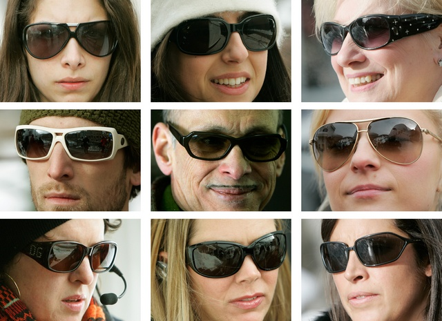 Combination image of publicists, PR people, fans, volunteers and stars wearing sunglasses at the 25th annual Sundance film festival in Park City